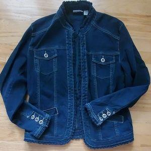 Chico's Platinum Dark Jean Jacket Size 2